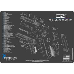 CZ shadow 2 schematic handgun mat grey or tan