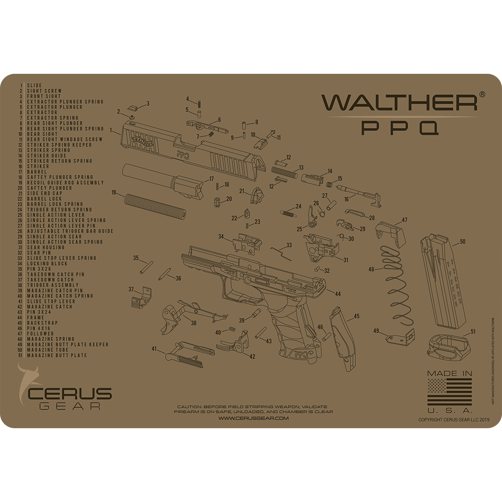 Walther PPQ Schematic Promat Tan or grey