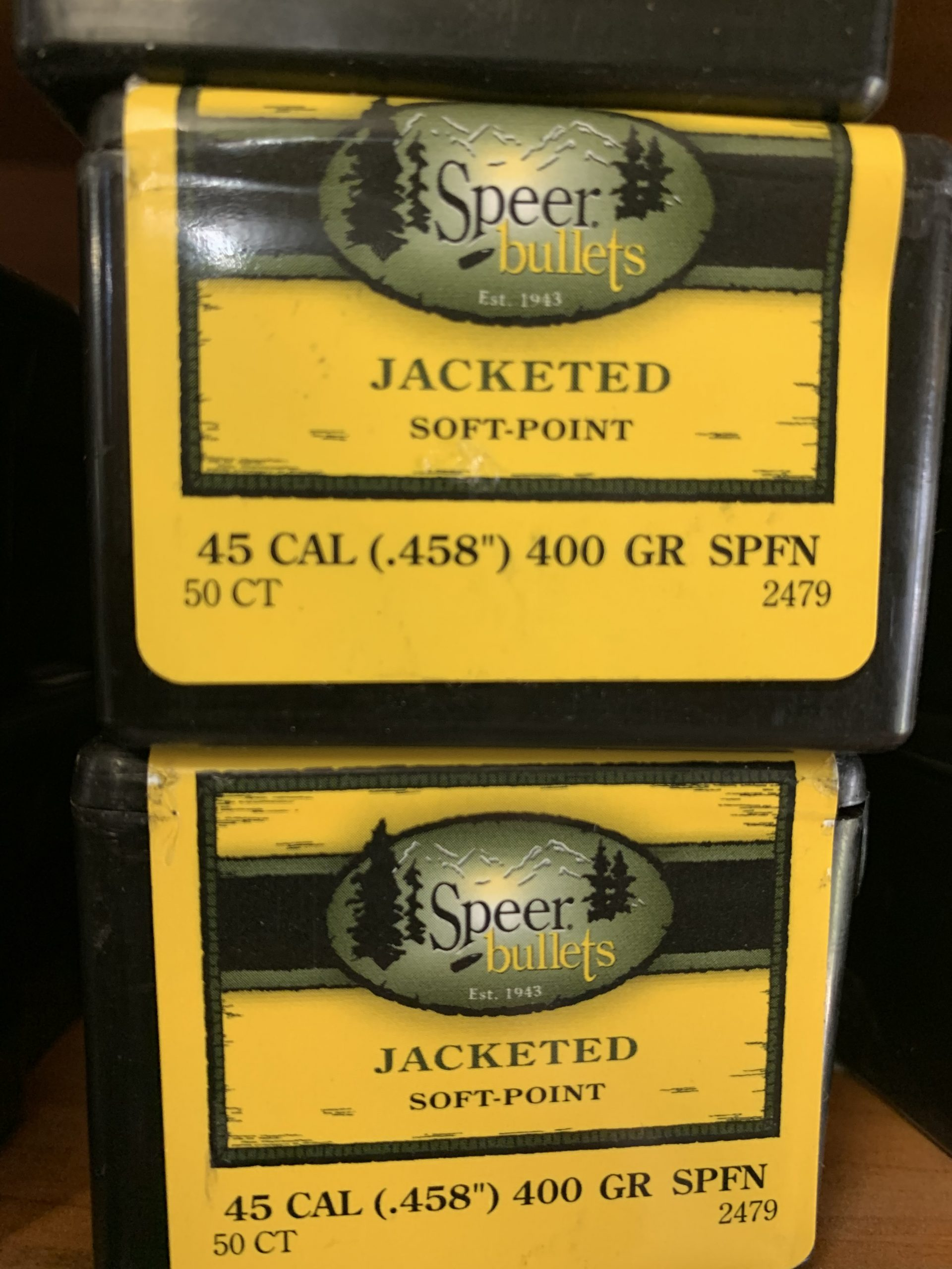 Speer 45/458 cal jacket soft point 400gr SPFN projectiles (50 pack)